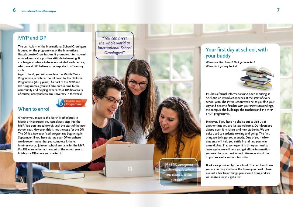 page layout schoolbrochure ISG