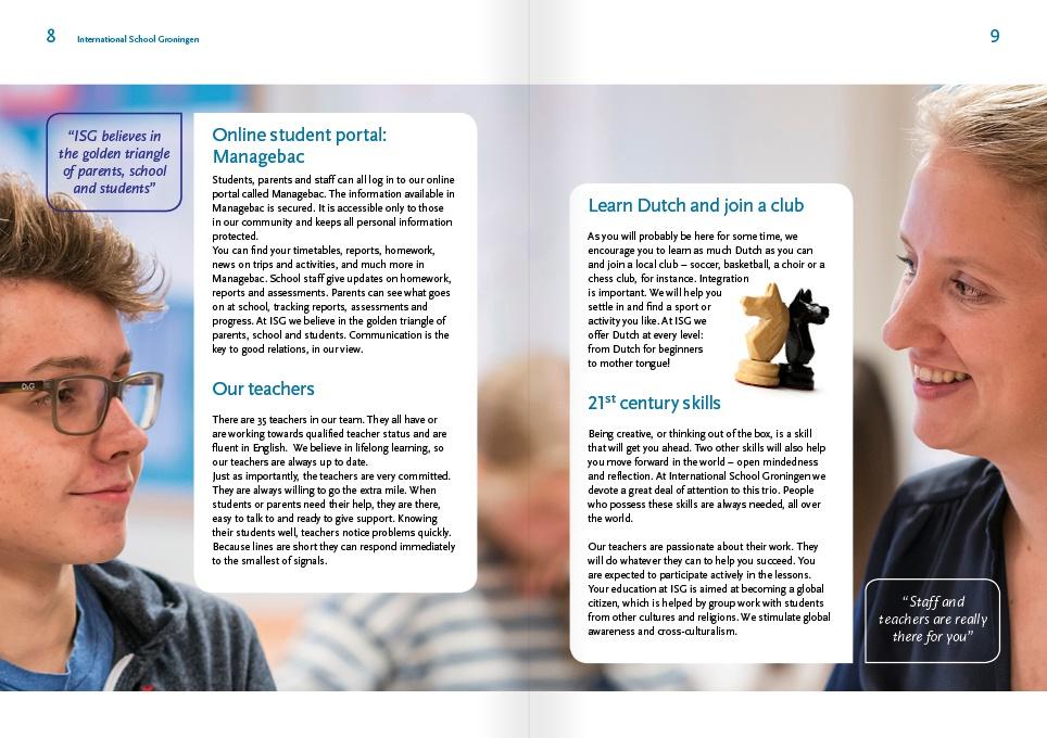page layout schoolbrochure ISG 2