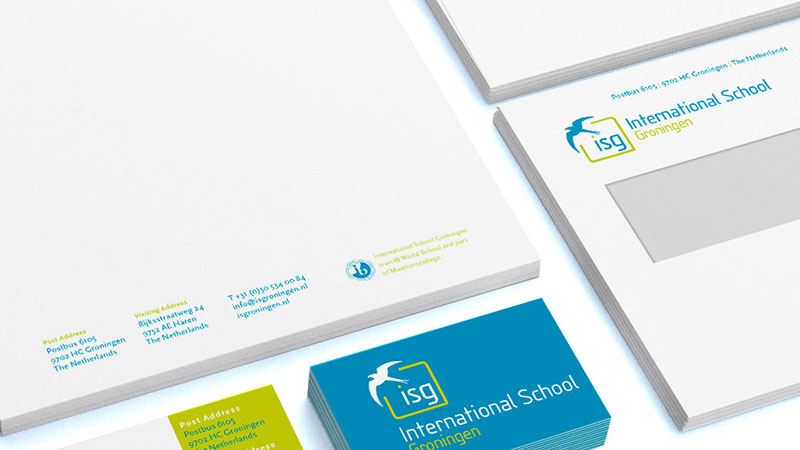 ontwerp briefpapier visitekaartje en envelop ISG