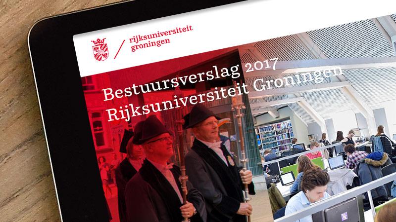 digitaal jaarverslag ontwerp RUG op ipad
