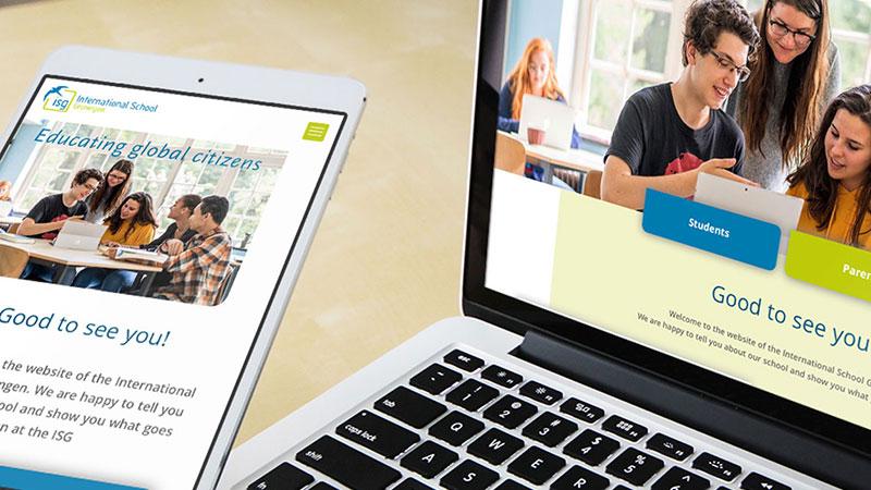 ontwerp responsive website ISG op iphone en laptop